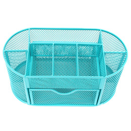 Wholesale Mesh Bin - ome Organization Storage Boxes Bins 22*11*10.5cmNew Multifuction Stationery Desk Organizer 9 cells Metal Mesh Desktop Office Pen Pencil ...