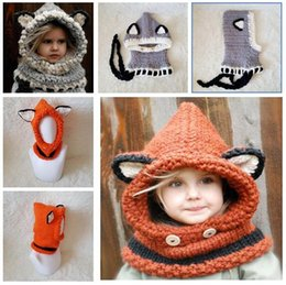 Wholesale Kids Knit Cat Beanie - Girls Hats Scarf Cat Fox Ear Baby Knitted Winter Kids Boys Girls Warm Shapka Caps Children Beanies Accessory 6 colors Free Shipping