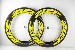 Wholesale 24 Inch Road Wheel Set - Fast shipping Yellow ZIPP 88mm Carbon Bicycle Wheels clincher bicycle wheels 700c carbon road wheelset 20 24