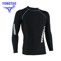 Мужчины плавание рубашка онлайн-NEW men's rash guard shirt Mens Long Sleeved T-Shirt Swimwear Wakeboard Floatsuit Tops UV Swimming RashGuard Sunscreen Dive suit