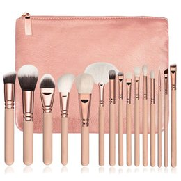 Wholesale complete cosmetic set - Wholesale 15 PCS set Pro Makeup Brushes Soft Fiber Cosmetic Complete Foundation Blending Wooded Handle Eye Kit + Cosmetic bag