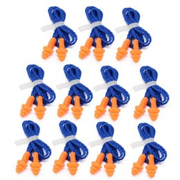 Wholesale ear hearing - 10 Pairs Waterproof Soft Ear Plugs Silicone Corded Reusable Hearing Protect Safety Earplugs For Swiming Use