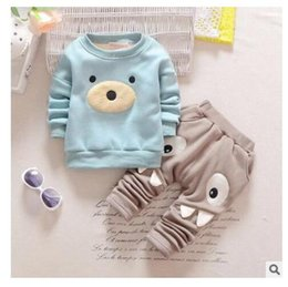 Wholesale Toddlers Clothing Cheap - 2017 Plus cashmere Cotton Long Sleeve Baby Clothing Set Spring Cheap Newborn Toddler Baby Boys Clothes Set Adorable Infant Sets