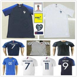 Wholesale Soccer Jersey France - 2018 World Cup France Soccer Jerseys GRIEZMANN POGBA MARTIAL CABAYE PAYET VARANE GIROUD KANTE MBAPPE Custom Home Blue White Football Shirt