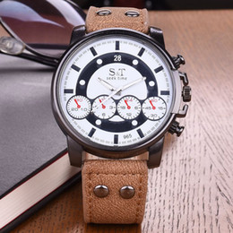 Wholesale Big Face Watches Men - Fashion Men business Watches Luxury Brand Big Face Clock Male PU Leather Casual Sport Watch Men Quartz Army Military Wrist Watch Relogio new