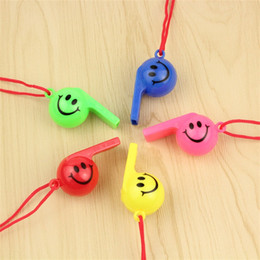 Wholesale design mini fan - Soccer Football Smile Face Design Whistle Mini Cartoon Cute Design For Cheerleading Toys Fans Favor Whistles With Hanging Ropes 0 25ys ZZ