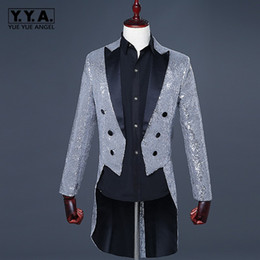 mens shiny suits jackets Coupons - Mens Night Club Bling Sequins Tailcoat Stage Clothes Blazer Suit Jacket Slim Fit Magic Performance Shiny Outerwear Blazer 3XL