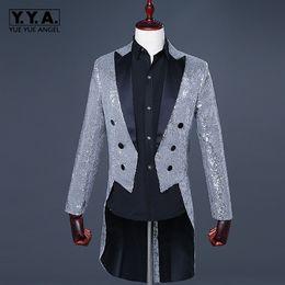 Sottile vestito lucido online-Mens Night Club Bling paillettes fracasso abiti da palcoscenico giacca giacca slim fit prestazioni magiche lucido tuta sportiva giacca 3xl