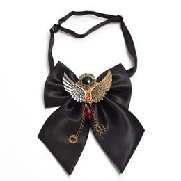 Wholesale gear tie - Unisex Vintage Steampunk Gothic Black Bow Tie Skull Gear Decoration