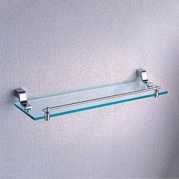Wholesale Bathroom Glass Shelves - Chrome Single Glass Shelf 20.5-Inch Wall Mounted Storage Holder Wholesale Brass Bathroom Accessories Glass Shelves