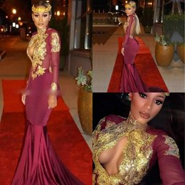 Wholesale Keyhole Strapless Prom Dresses - Sexy Backless High Neck Keyhole Mermaid Prom Dresses Burgundy Gold Applique Cheap Party Evening Dresses Celebrity Gowns Robe De Soiree