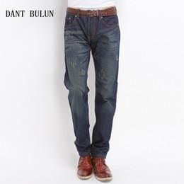 nuevos jeans clásicos de corte recto Rebajas DANT BULUN Nueva calidad superior Mens Jeans Classic Casual algodón lavado hombre Jeans Straight Fit Denim Pants Business Trousers