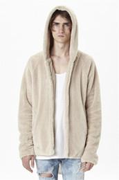 Wholesale reversible fleece - Men Sherpa Coat Fear of God Reversible Fur Hoodie Coat Winter Autumn Mens Open Stitch Kanya West Fleece Sherpa Jacket Beige Black Color