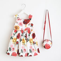 Vieeoease девушки одеваются цветок Детская одежда 2018 Летняя мода рукавов жилет Принцесса платье партии с мешком EE-521 от Поставщики цветок принцесса мешок