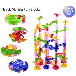 Wholesale Plastics Construction - 105 pcs set Maze Balls Track Building Blocks Plastic DIY Construction Marble Race Run Children Gift Baby Kid's Toy Educational
