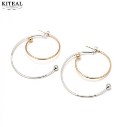 Wholesale beads for hoop earrings - KITEAL 2108 New Fashion Exaggerated Big Hoop Gold&Silver Mixed color Circle Geometry round beads Earrings for Women Jewelry