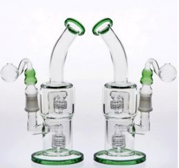 birdcage percolator bong Coupons - 2018 green bongs 24cm Double Birdcage Percolators Oil Rigs Bongs Water Pipes Beaker Cheap Glass Bongs in stock Joint 18.8mm Hookahs