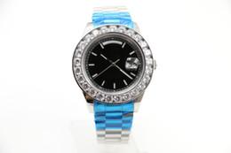 Wholesale Automatic Watch Big Case - 2017 New model 44mm Big diamond Silver Case luxury brand Day-Date Black face watch sapphire original clasp automatic Mechanical WristWatche