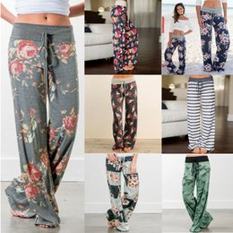 Wholesale woman trousers wide legs - Womens Lounge Trousers Pj pants Bottoms Wide Leg Pants Sleepwear Gym Leggings Plus Size Loose Floral Soft cotton