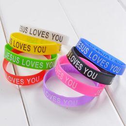 2019 bracciali bieber Jesus Loves You Sport Braccialetto in silicone Mix colori per bambini Uomo Donna Jelly Glow Bracciali Accessori per gioielli 100PCS
