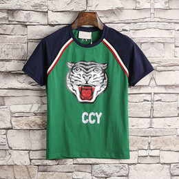 Wholesale Cat T Shirts Women - 2018 Designer clothes luxury Brand men green T-shirt letter animal cat print tshirt patchwork sleeve Runway Tees Casual women cotton Top