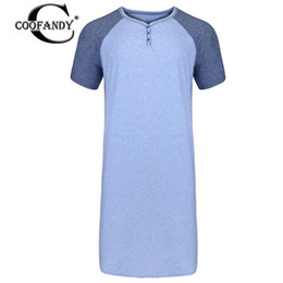 wholesale long sleeping shirts Coupons - Shirt Long V Button Natural Sleeve Nightshirt Short Sleep Men Home Comfort Nightwear Neck Tall Sleep Nightgown Patchwork