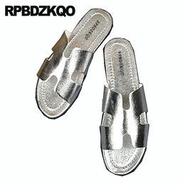 scarpe di pantofole d'argento Sconti Nice Slides Slippers Flat Silver Casual Designer Shoes Uomo Pelle di alta qualità Famous Brand Slip On Soft Native Sandals Summer