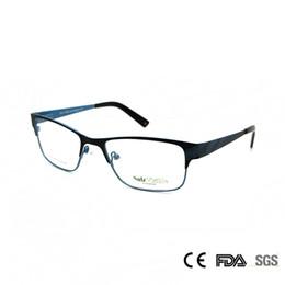 Wholesale Prescription Blue - Sorbern Fashion Women Men Metal Eyeglasses Light Thin Optical Frames Full Rim Square Glasses Prescription Myopia Eyewear
