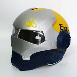Motocross elmetto giallo online-NOVITÀ BlueYellow corona retro MASEI IRONMAN Iron Man casco moto casco semiaperto 610 ABS casque motocross