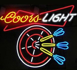 """Wholesale coors beer neon sign - Custom New COORS LIGHT DART Real Glass Neon Sign light Beer Bar Sign Send need photo 19x15"""""""