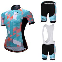 Frauen radfahren trikot kits online-Miloto Bicycle Racing Team Kurzarm Maillot Ciclismo Damen Radtrikot-Sets Sommer atmungsaktives Mesh Radhose-Sets Trägerhose