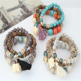 white resin elephants Promo Codes - Multicolor Beads Weave Tassel Bracelet Multilayer Elephant Charms Bracelets For Women New Punk Gift Bohemian Jewelry LX