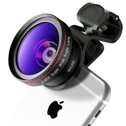 2 в 1 HD телефон объектив камеры комплект 0.45 X широкий угол+12.5 X макро клип на iPhone Samsung смартфон внешняя камера от