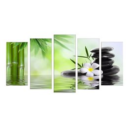 tela astratta di bambù Sconti Unframed Modern Abstract Canvas Print Pittura Immagine Murale Hanging DecorPattern, Natura fresca Bamboo