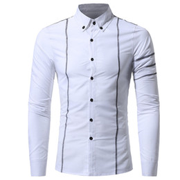 striped shirt long sleeve Australia - Striped Shirt Handsome Boy Casual Blusa Light Blue Cotton Tops Spring Wear Long Sleeve Korean Slim Blusa 3XL Tide Men Shirts