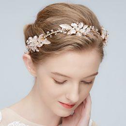 Wholesale bridal hair ornament - Boho Crystal Bridal Headband Tiara Gold Leaf Wedding Hair Crown Accessories Women Hair Ornaments Piece