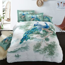 Wholesale Thick Bedding Sets - Wholesale-Peacock Birds Print Chinese Bedding set Thick Cotton Winter Bed linen set Pillowcases Duvet Quilt cover Set King Queen size
