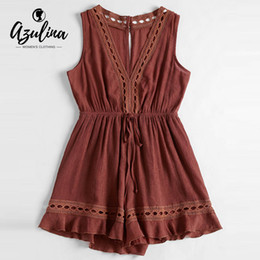 66fab5a93f09 20187 AZULINA Sexy V Neck Cut Out Romper Women Playsuit 2018 Summer Hollow  Out Sleeveless Girl Overalls Jumpsuits Cute Ladies Rompers
