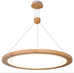 Wholesale japanese led lights - Modern style restaurant chandelier solid wood Japanese style wooden chandelier led modern minimalist creative table lamp dining hall lampLFF