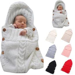 Wholesale Newborn Handmade - Newborn Knitted Sleeping Bags Baby Handmade Blankets Toddler Winter Wraps Photo Swaddling Nursery Bedding Stroller Cart Swaddle Robe OOA3850