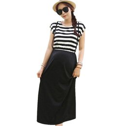 Wholesale tea length slim dresses - Maternity Clothes Summer Dress Slim Stripe Fake Suspender Skirt Maternity Dresses Clothes For Pregnant Women 2018 New