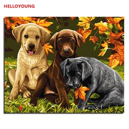 Wholesale Group Oil Paintings - Group of dogs DIY Handpainted Oil Painting Digital Painting by numbers oil paintings chinese scroll paintings Home Decoration