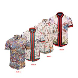 Wholesale dressed animals paintings - Italy Newest Fashion Wave Of Men 3D Floral Print Luxury Brand Clothing Harajuku Casual Shirts Long Sleeve Men's Medusa Business Shirts