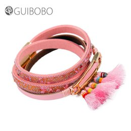 Wholesale China Traditional Girl - Guibobo New Designed Women Charm Bracelets Multi Circle Girls Students Accessories Fashion Colorful Artificial Leather Style 291128A