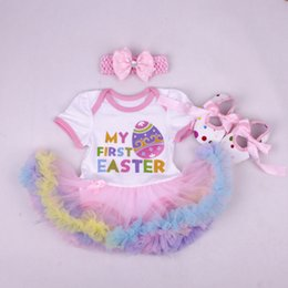 Wholesale Floral Outfits - baby girl infant toddler 3piece outfits Princess Floral Easter romper onesies jumpsuit lace skirt tutu skirt pettiskirt + headband + shoes