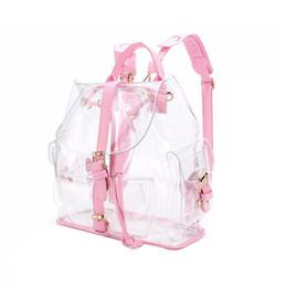 transparente mode rucksack Rabatt 2018 neue Mode Mädchen Rosa Klar Niedlich Wasserdicht PVC Transparent Rucksack Schultasche Reisetasche (Farbe: Pink)