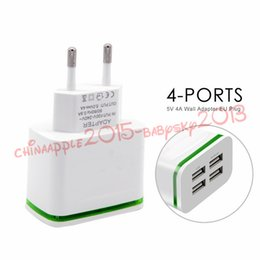 Wholesale Usb 5v 4a - 5V 4A Fast Quick Charge Eu 4 Usb ports Ac home travel wall charger led light power adapter for iphone 7 8 x samsung s7 s8 android phone pc