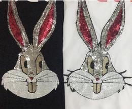Wholesale Rabbit Tee Shirt - Fashion sexy Long ears Rabbit t shirt women 2018 cotton plus size womens diamond tee shirt casual women Paris top tees