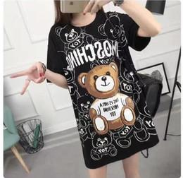 Wholesale Cap Sleeved - The European American cartoon teddy bear letter printing T-shirt female short-sleeved medium long - size round collar cotton shirt.