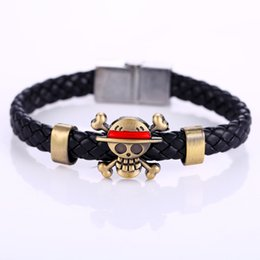Chapéus de palha luffy on-line-Cosplay Anime One Piece Monkey`D`Luffy Straw bronze chapéu de pirata trançado pulseira pulseira